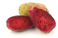 Fresh colorful cactus fruit and a cut one Royalty Free Stock Photography