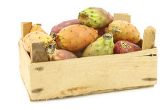 Fresh colorful cactus fruit in a wooden crate Royalty Free Stock Image