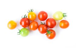Fresh colorful cherry tomatoes on white background, raw food and. Vegetable concept Royalty Free Stock Image