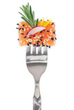 Fresh colorful composition with seafood on fork Royalty Free Stock Photo
