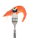 Fresh colorful composition with seafood on fork Royalty Free Stock Image
