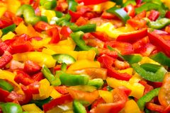 Fresh colorful cut bell peppers texture for background. Royalty Free Stock Photos