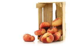 Fresh colorful flat peaches Royalty Free Stock Image