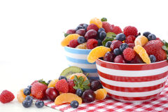 Fresh colorful fruit in breakfast bowls Stock Photo