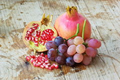 Fresh colorful fruits. On old table background Royalty Free Stock Photos