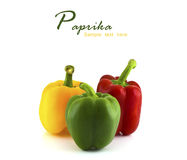 Fresh colorful paprika isolated. On white background with copy space Stock Photography