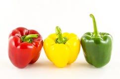 Fresh colorful paprika on white. Beautiful fresh colorful paprika on white royalty free stock photography