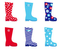 Fresh & colorful rubber wellington boots. Stock Photo