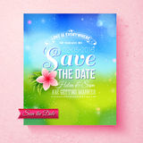 Fresh colorful Spring Save The Date template Royalty Free Stock Photography