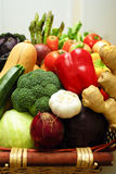 Fresh colorful vegetables. A closeup, colorful display of fresh vegetables in a basket royalty free stock image
