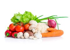 Fresh colorful vegetables. Isolated on white background royalty free stock photo