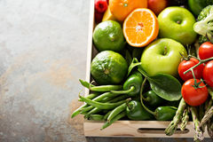 Fresh colorful vegetables and fruits Stock Photos