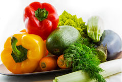 Fresh colorful vegetables set on table Royalty Free Stock Images