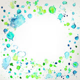 Fresh colors hand drawing splashes frame background Royalty Free Stock Image