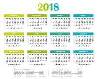 2018 Fresh colors yearly calendar. Federal holidays, moon and numbers of weeks Stock Image