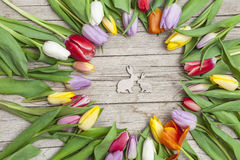 Fresh coloured tulips in front a wooden background with Easter bunnies Stock Photography
