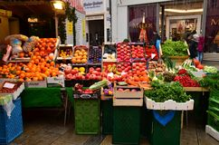 Fresh colourful fruit & veg. Colourful food produce on display and for sale on a market here in Westphalia, Germany royalty free stock photos