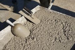 Fresh concrete sampling for testing stock photos