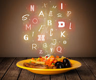 Fresh cook food with colorful letters on wood Stock Photos
