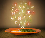 Fresh cook food with colorful letters on wood Royalty Free Stock Photo