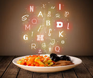 Fresh cook food with colorful letters on wood Stock Photography