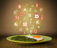 Fresh cook food with colorful letters on wood Stock Images
