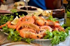 Fresh cooked Australian prawns. On a platter Stock Images