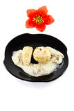 Fresh Cooked Bread Dumplings with Champignon Sauce Stock Image