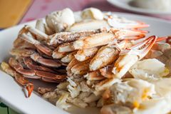 Fresh cooked crab meat seafood. Thailand royalty free stock photography