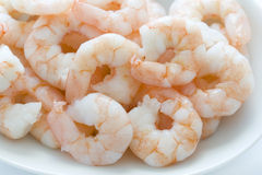 Fresh cooked king prawns in a dish Stock Photos