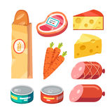Fresh and cooked meat, cheese, canned food. Groceries. Fresh and cooked meat, cheese, and canned food. Modern flat style realistic vector illustration icons Stock Photography