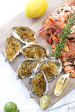 Fresh cooked seafood on a platter Royalty Free Stock Photos