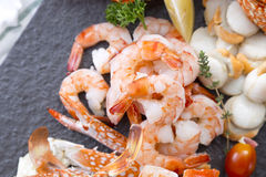 Fresh cooked seafood on a platter Royalty Free Stock Images