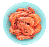 Fresh cooked shrimp on a plate isolated on white background. Stock Photo