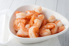 Fresh cooked shrimp in white bowl Royalty Free Stock Image