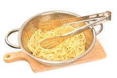 Fresh cooked spaghetti in strainer with serving tongs isolated o Stock Image
