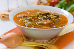 Fresh cooked stew with green beans and roast ham,b Stock Image