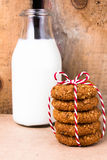 Fresh cookies with almond and brown sugar  with red ribbon and b Stock Photography
