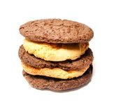 Delicious cookies on a white background. Fresh cookies on colored background. Bakery Stock Photography