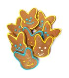 Delicious cookies on a white background. Easter bunny. Fresh cookies on colored background. Bakery. Easter bunny. Holiday. Easter rabbit Royalty Free Stock Image
