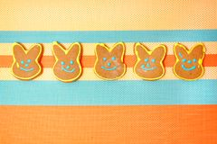 Delicious cookies on a white background. Easter bunny. Fresh cookies on colored background. Bakery. Easter bunny. Holiday. Easter rabbit Royalty Free Stock Photo