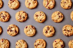 Fresh chocolate chip cookies pattern on grey background royalty free stock photos