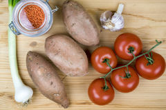 Fresh cooking ingredients for a homemade recipe Royalty Free Stock Photos