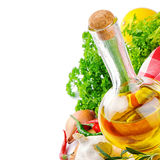 Fresh cooking ingredients with olive oil royalty free stock photography