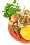 Fresh cooking ingredients with olive oil Stock Photography
