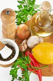 Fresh cooking ingredients with olive oil Royalty Free Stock Photos
