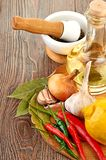 Fresh cooking ingredients with olive oil Stock Photo