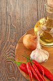Fresh cooking ingredients with olive oil Stock Image