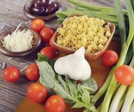 Fresh Cooking Ingredients. With Pasta Royalty Free Stock Images