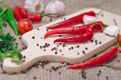 Fresh cooking ingredients, pepper, garlic. Royalty Free Stock Image